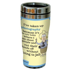 """Tree-Free Greetings sg23846 Hilarious Aunty Acid """"Photography"""" by The Backland Studio Ltd. 16 Oz Sip 'N Go Stainless Steel Lined Tumbler"""